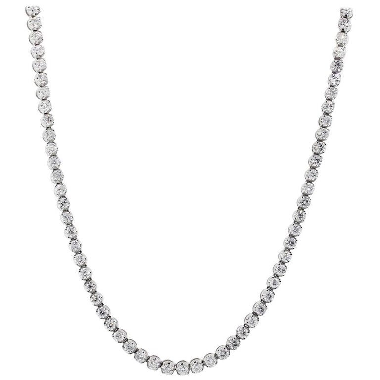 Long Diamond Tennis Necklace