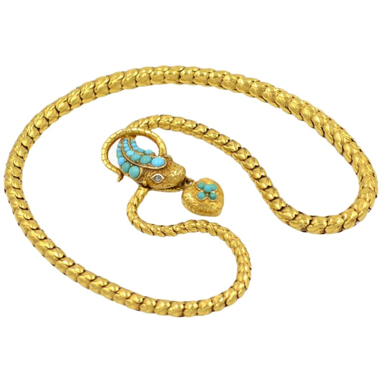 Victorian 18 Karat Yellow Gold and Turquoise Snake Locket Necklace, circa 1870 1