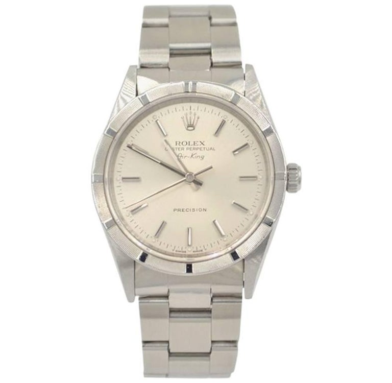 Rolex Stainless Steel Airking Silvered Baton Index Dial Wristwatch