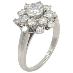 Oscar Heyman Diamond Cluster Platinum Ring, circa 1980