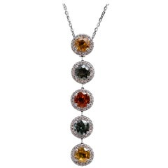 Multicolored Orange-Green-Yellow Sapphire Platinum Pendant Necklace 6.83 Carat
