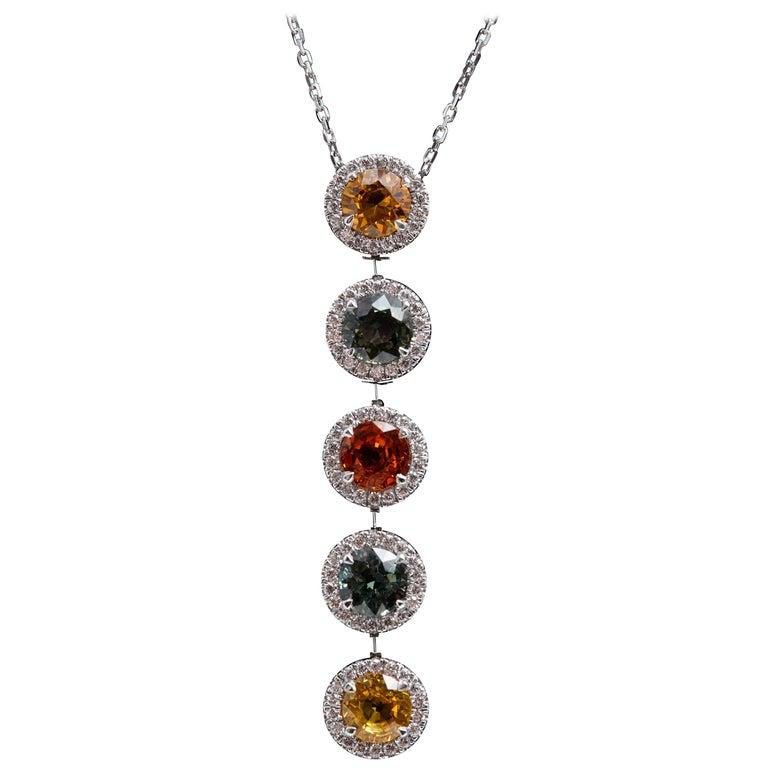 Multicolored Orange-Green-Yellow Sapphire Platinum Pendant Necklace 6.83 Carat