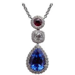 Tanzanite Diamond Ruby Necklace