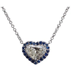 Heart Shaped Diamond Sapphire Gold Necklace GIA Certified