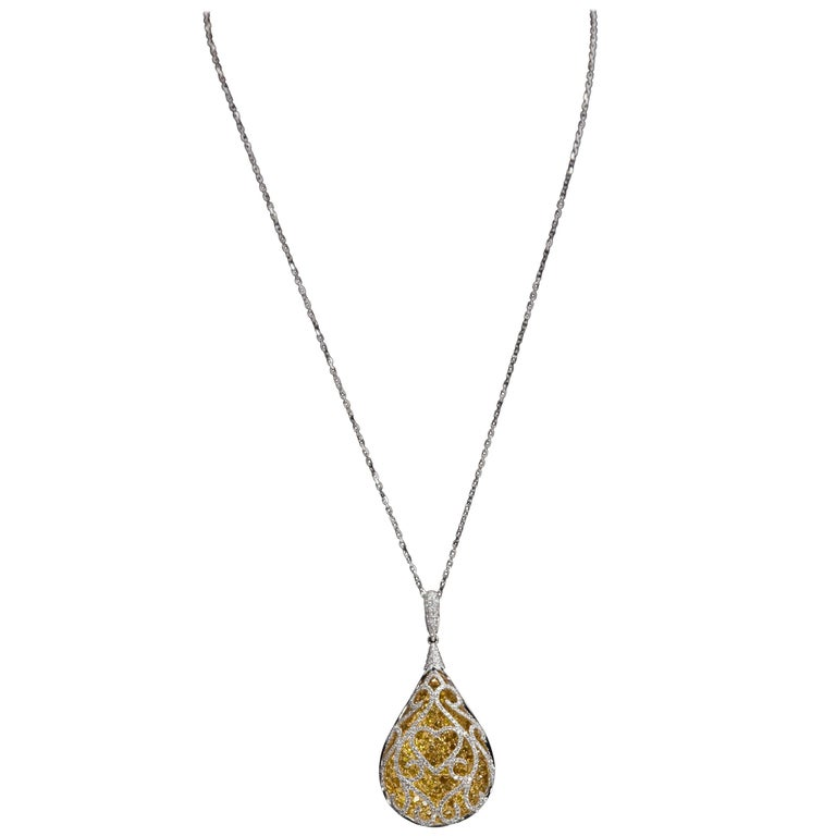 Intricate White and Yellow 18 Karat Gold Diamond Pendant Necklace 4.30 Carats