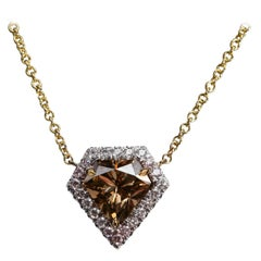 Shield Shaped Diamond 1.45 Carat GIA Natural Fancy Orange-Brown Gold Necklace