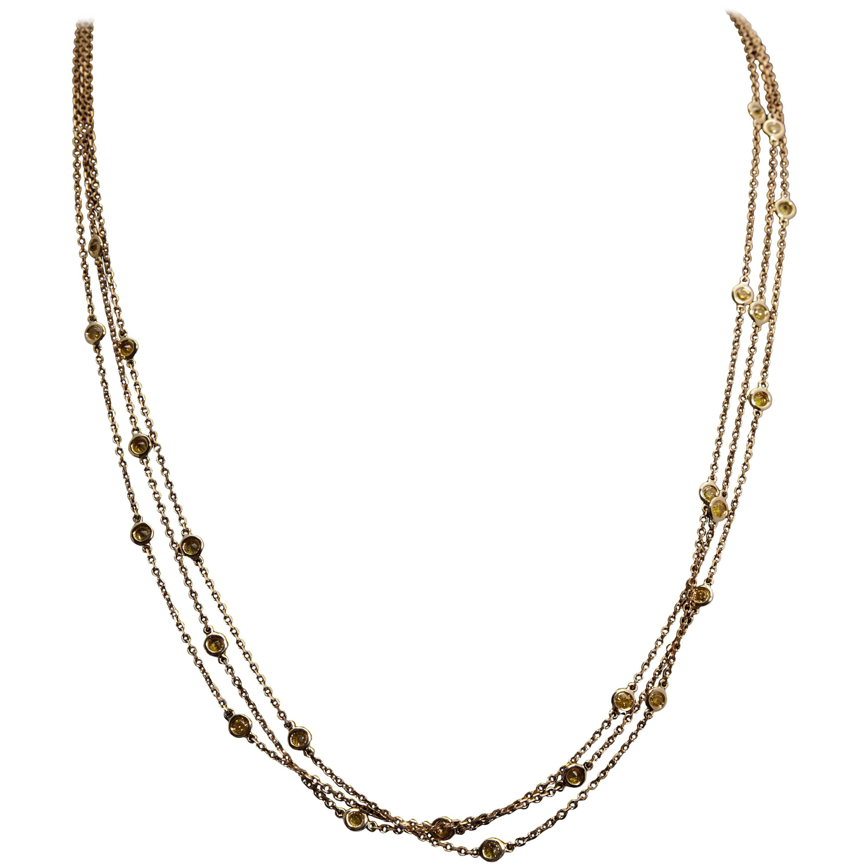 Multi Stand Diamond By The Yard Style 18 Karat Yellow Gold Necklace For At 1stdibs