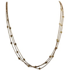 Multi Stand Diamond by the Yard Style 18 Karat Yellow Gold Necklace