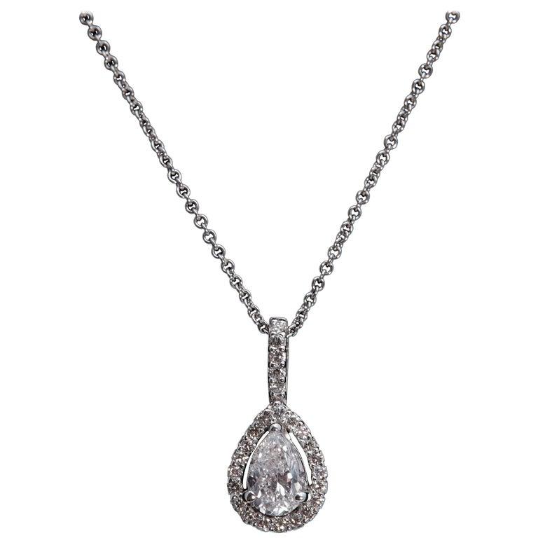 14 Karat White Gold Pear Shape Diamond Halo Necklace