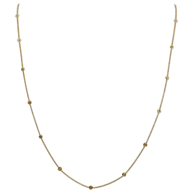 Diamond by the Yard Style Necklace 1.40 Carats in 18 Karat Yellow Gold