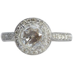 18 Karat White Gold 1.42 Carat Rose Cut Diamond Ring