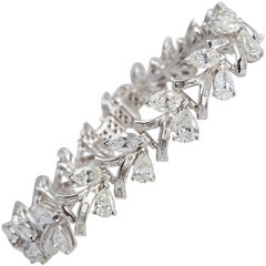 Pear and Marquise Shape Diamond and Platinum Bracelet 14 Carat