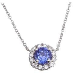 Tanzanite Diamond 14 Karat White Gold Necklace