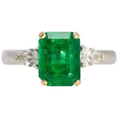 AGL Certified Emerald 2.20 Carat Two-Pear Shaped Diamonds Platinum Ring