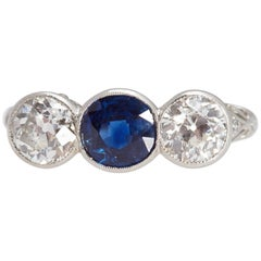 Edwardian Sapphire and Diamond Three-Stone Platinum Ring, circa 1910