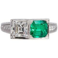 Two-Stone Platinum Ring Square Diamond and Square Emerald GIA