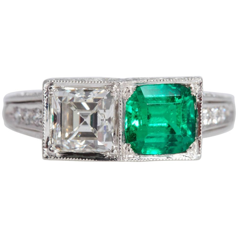 Two-Stone Platinum Ring Square Diamond and Square Emerald GIA