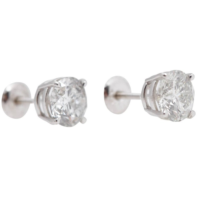 Classic Round Diamond Stud White Gold Earrings GIA Total Weight .60 Carat