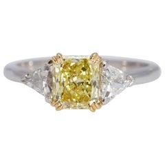 GIA Fancy Yellow Radiant Diamond .97 Carat Platinum 18 Karat Yellow Gold Ring
