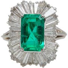 5.42 Carat Emerald and Diamond Platinum Ballerina Ring