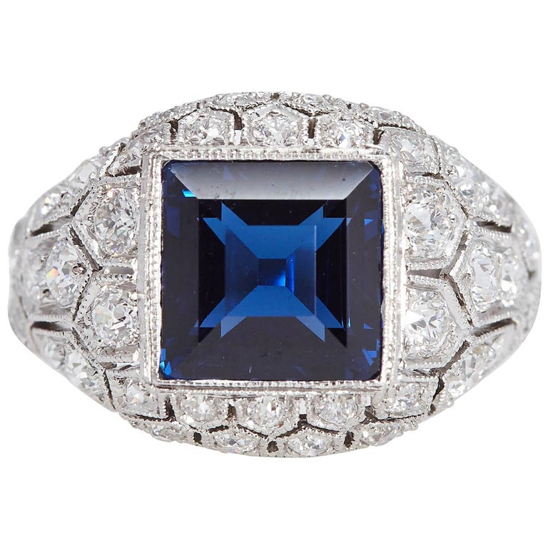 Art Deco J. E. Caldwell 2.89 Carat Sapphire Diamond Ring AGL Certificate For Sale