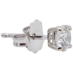 GIA Round Diamond Gold Earrings .60 Carat