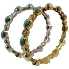 Doris Panos Pair of 18K Yellow Gold, White Gold Turquoise and Diamond Bracelets