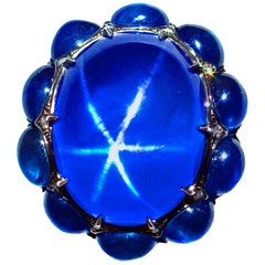 21.31 Carat Royal Blue Burma Star Sapphire Rive Gauche Jewelry Original Ring