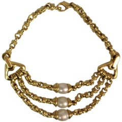 18 Karat Yellow Gold and South Sea Pearl Necklace