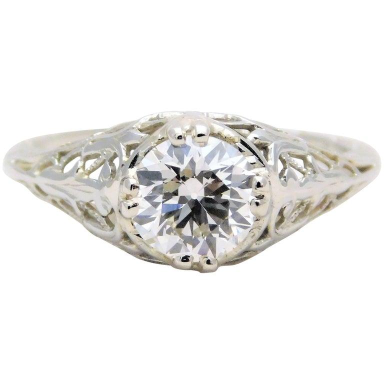 18 Karat White Gold Edwardian European-Cut Diamond Engagement Ring