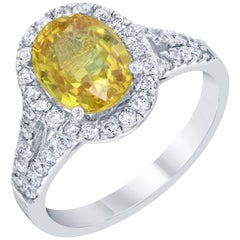 3.49 Carat Yellow Sapphire Diamond Ring