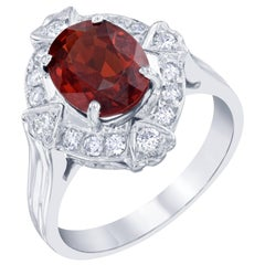 3.47 Carat Spessartite Diamond Cocktail Ring
