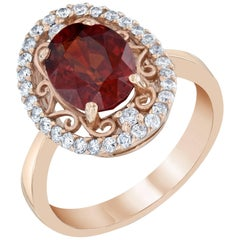 3.87 Carat Spessartite Diamond Cocktail Ring