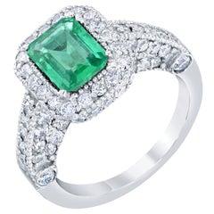 2.50 Carat Emerald Diamond Engagement Ring