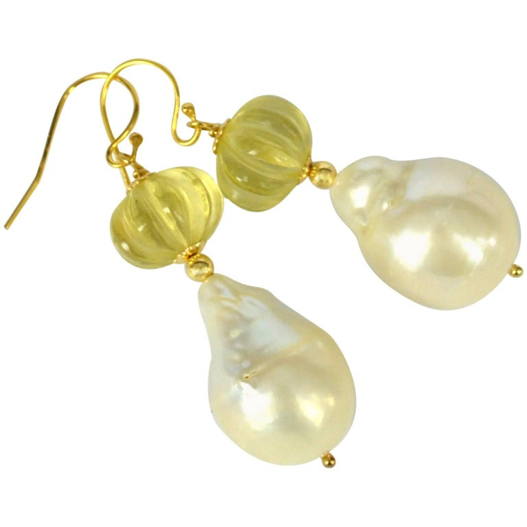 Decadent Jewels Carved Lemon Quartz Baroque Pearl Gold Earrings