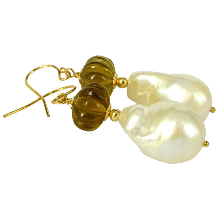 Decadent Jewels Carved Beer Quartz Baroque Pearl Gold Earrings