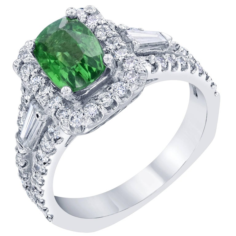 2.77 Carat Tsavorite Diamond White Gold Ring