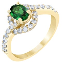 1.22 Carat Tsavorite Diamond Yellow Gold Ring