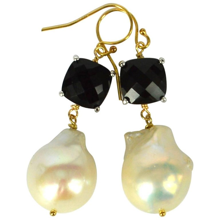 Decadent Jewels Black and Baroque Pearl Gold and Silver Earrings