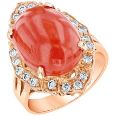 7.48 Carat Coral Diamond Cocktail Ring