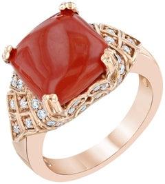 5.00 Carat Coral Diamond Cocktail Ring