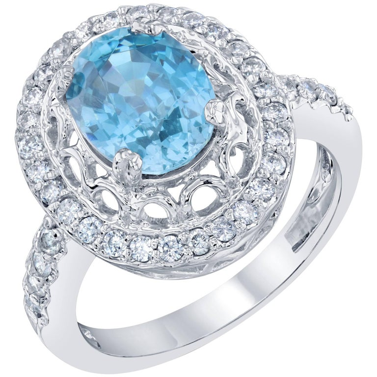 3.99 Carat Blue Zircon Diamond Ring
