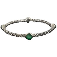 Lagos Cushion Malachite Doublet Venus Sterling Silver Bangle Bracelet