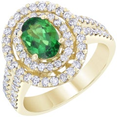 2.20 Carat Tsavorite Diamond White Gold Ring