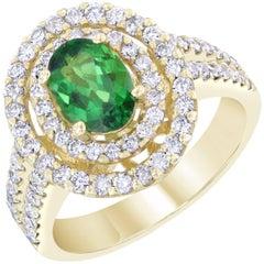 2.20 Carat Tsavorite Diamond 14 Karat White Gold Cocktail Ring