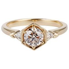 Gold 0.8 Carat, Round Cut Champagne Diamond 'Matilda' Engagement Ring