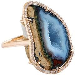 Karolin Rose Gold White Diamond Agate Cocktail Ring