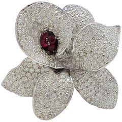 Late 20th Century White Gold Diamonds and Rubies Fashion Ring