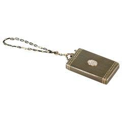 1930s Cartier Art Deco Enamel Diamond Gold Minaudiere Compact
