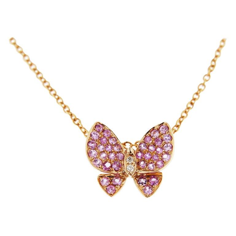 Jona Pink Sapphire 18 Karat Gold Butterfly Pendant Necklace For Sale